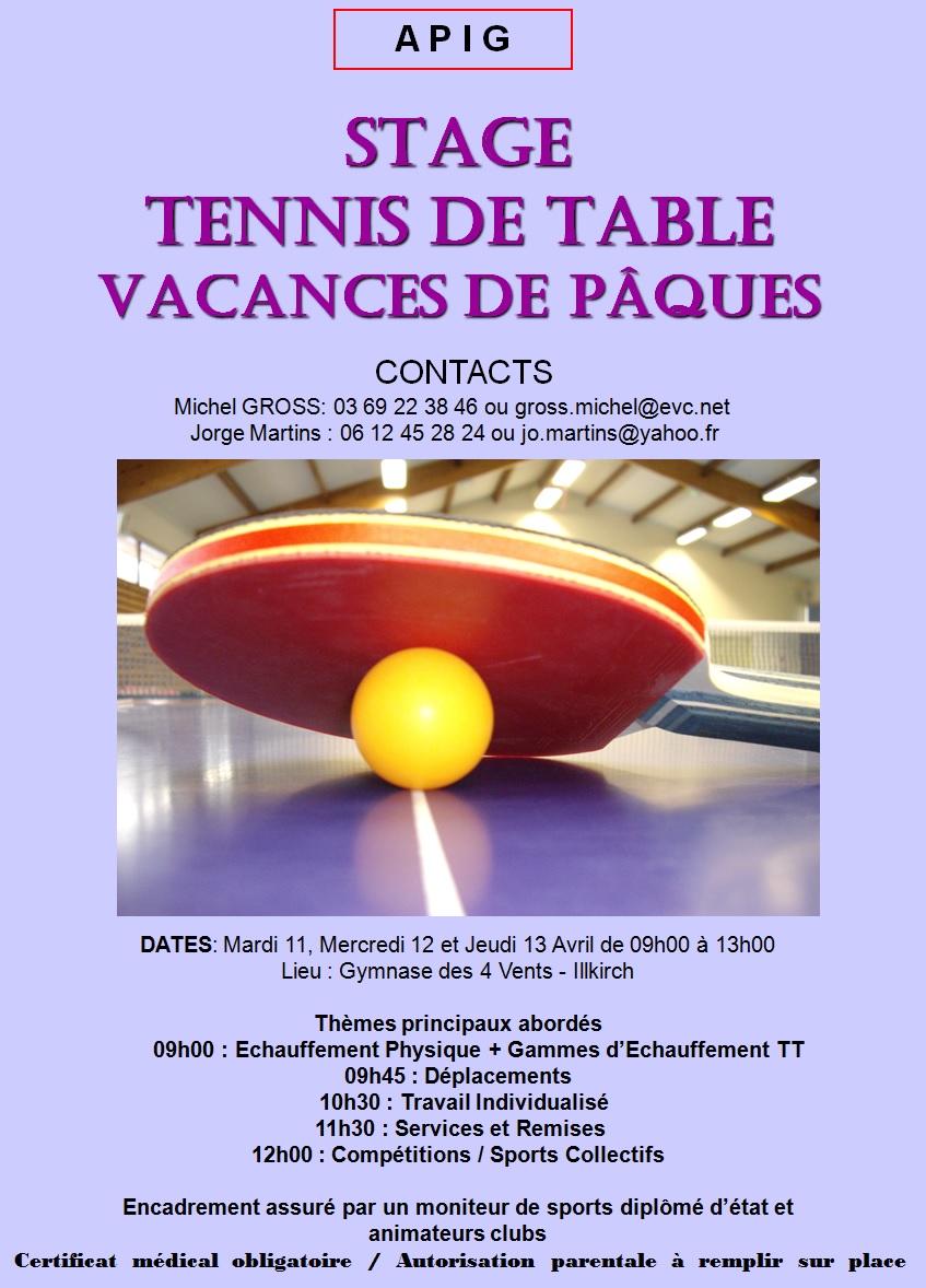 Association des pongistes d 39 illkirch graffenstaden - Stage tennis de table hennebont ...